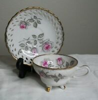 Vintage Cherry China Footed Teacup Reticulated Saucer Pink Rose Gold Japan