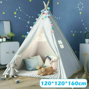 Large Canvas Kids Indian Tent Teepee Children Wigwam Indoor Outdoor Play House