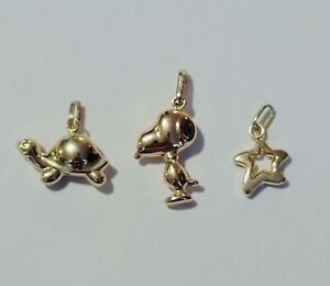18K Solid Yellow Gold Charm / Pendant Lot. SNOOPY, TURTLE, & STAR 1.9 grams