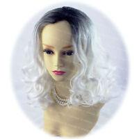 Wiwigs Lovely Dip-Dye Ombre Cosplay Medium Black & Snow White Ladies Wig