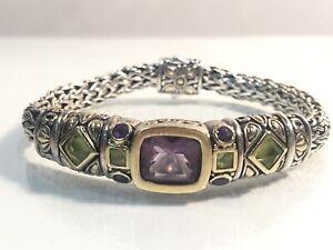 """John Hardy Sterling 18k Gold Wheat Chain Bracelet 7.0"""" Amethyst & Peridot"""