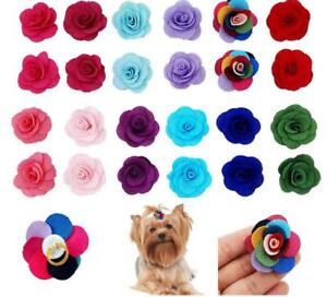12Pairs Flower Dog Hair Bows With Rubber Bands For Pet Puppy Grooming Accessory