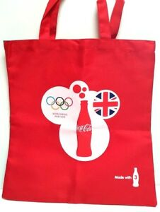 Red Canvas Tote Shoulder Shopping Bag Coca Cola London Olympic 2012 Collectible