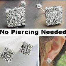 U CLIP ON studs 8mm SQUARE CRYSTAL EARRINGS rhinestone silver plated stud