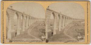 Original vintage 1890s stereoview PORTUGAL, Lisbon, aqueduct