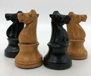 "Vintage Staunton Chess Set Made in France. Lardy chessmen - 3.25"" kings w box!"