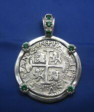 Piece Of Eight Sterling Replica Shipwreck Pirate Coin Pendant with Emeralds