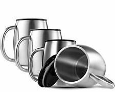 FineDine Tasse à café à double paroi en acier inoxydable 18/8 avec couvercles