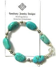 Sterling Silver Natural Nevada TURQUOISE Gemstone Bead Bracelet...Handmade USA