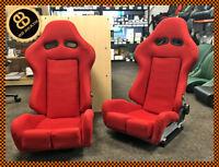 BB7 RECLINING Fibreglass Fabric Racing Bucket Sports Seats RED Universal PAIR