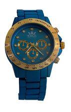 Kings Women's Blue Metal Strap Gold Dial Watch Analog Quartz Movement