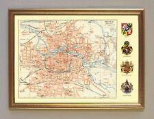 Breslau Schlesien Karte Register Wappen Preussen Faksimile 12 im Goldrahmen