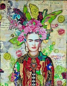Frida Kahlo Classic Icon - Colour Wall Art Canvas 20x30 INCH