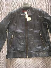 Belstaff Maxford 3.0 Racing Blue Leather Jacket Size 56