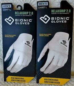 2-PK 2020 Bionic RelaxGrip 2.0 Men's Golf Gloves Durable Black Palm 2-3 Day Ship