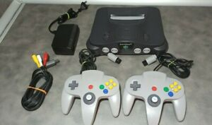 Nintendo 64 Bundle With 2 Gray Controllers & Cables US Region NTSC Console