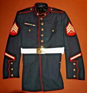 USMC US Marine Corps Dress Blue Wool Gabardine Coat Jacket 46S SGT w/Belt