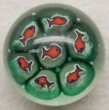 Vintage Murano Paperweight With Fish Murrine Canes