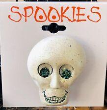 New Spookies Skull/Skeleton Head Glittery Halloween Brooch Pin