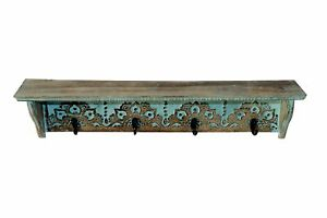 Hand Carved Decorative Wooden Wall Mounted Shelf/Bracket/Shelves 27 X 5 X 5.5 in