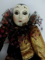 """Bradley Dolls Musical Pierrot Musical Doll """"Send In The Clowns"""" Black and Gold"""
