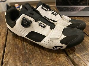 Giro Trans BOA Road Cycling Shoes, 46, White/Black Carbon Soles
