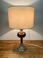Vintage Metal And Ceramic Floral Design Table Lamp Light With Shade