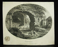 Grabado Original Siglo XVIII Manga Ruinas de Un Castillo Por Ringuet