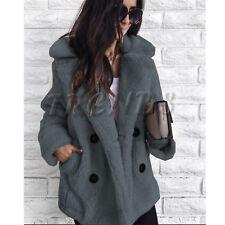 UK Womens Teddy Bear Oversized Coat Ladies Borg Peacoat Faux Fur Jacket Size8-14
