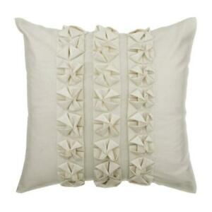 """Decorative Ivory 12""""x12"""" Zipper Throw Pillow Faux Leather,Pintuck - Classic Luxe"""