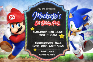 Personalised Sonic The Hedgehog and Super Mario Party Invites Inc Envelopes SM1
