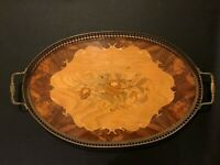 Vtg Italian Inlaid Wood Marquetry Serving Tray Ornate Brass Edging Handles 1950s