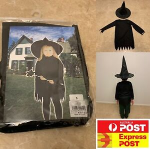 Girls boys Halloween Costume cosplay black Witches dress with hat, AU stock
