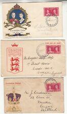 New Zealand: Three GVI Coronation FDCs to Napier, Angus & Croydon, 13 May 1937