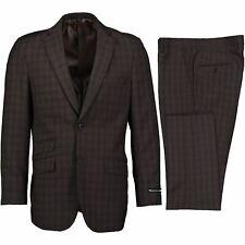 Alberto Cardinali Men's Brown Plaid 2 Button Slim Fit Business Suit NEW