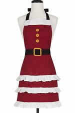 Christmas Holiday Adult Red Santa Apron. 100% Cotton