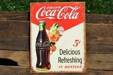 Drink Coca-Cola Tin Metal Sign - Sprite Boy - Coke - Delicious & Refreshing 5¢