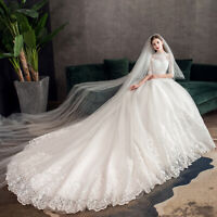 2019 High Neck Half Sleeve Wedding Dress Vintage Bridal Gown Lace Embroidery