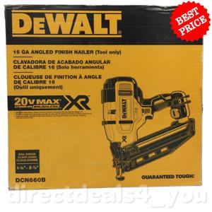 (New) DEWALT DCN660B 20V MAX 16GA Angled Cordless Finish Nailer (Tool only)