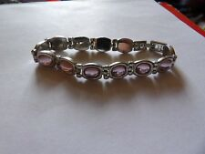 PRETTY SILVER TONE PINK CABOCHON CRYSTAL SET PANEL BRACELET FOLDOVER CLASP MA99
