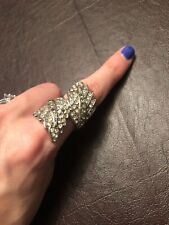 Womens Size 6 Feather Ring With Crystals