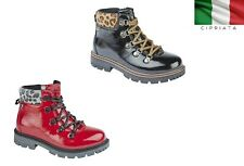 Girls Cipriata Patent Animal Print Trim Ankle Boots Red Black Size 9 - 3 UK
