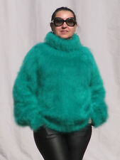 MOHAIR Hand Knitted EMERALD GREEN Sweater Turtleneck Soft Pullover Unisex Fluffy
