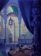 """NUOVO ORIGINALE MARCHIO Harrison """"Moonlight in Seraglio"""" Medio Oriente pittura ad olio"""