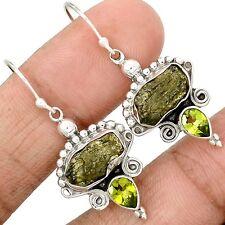 Genuine Czech Moldavite 925 Sterling Silver Earrings Jewelry SE123321