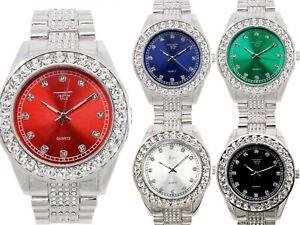 Men Iced Watch Bling Rapper Simulate Diamond Silver Hip Luxury Cubic Unisex Hot