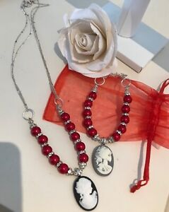 BNWOT Camero red silver tone beaded Rhinestone set necklace & bracelet 🎁