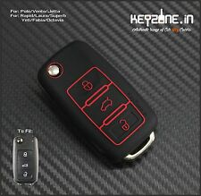 KeyZone Limited Edition Silicone Key Cover for VW Polo, Vento, Jetta (Black)