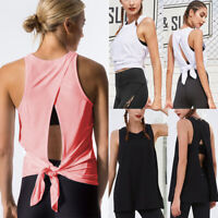 Women Sexy Open Back Yoga Tank Top Backless Activewear Workout Shirt Clothes AM