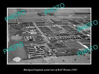 OLD LARGE HISTORIC PHOTO BLACKPOOL ENGLAND AERIAL VIEW OF RAF WEETON c1945